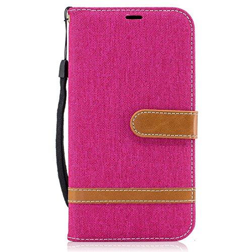 Funda para Samsung Galaxy J7 2017(US Version),MAGQI Cowboy Flip Billetera Carcasa [Estilo de Negocios] Función de Soporte Ranura para Tarjetas Cierre Magnético Parachoques Portátil Case - Azul Oscuro Rosado