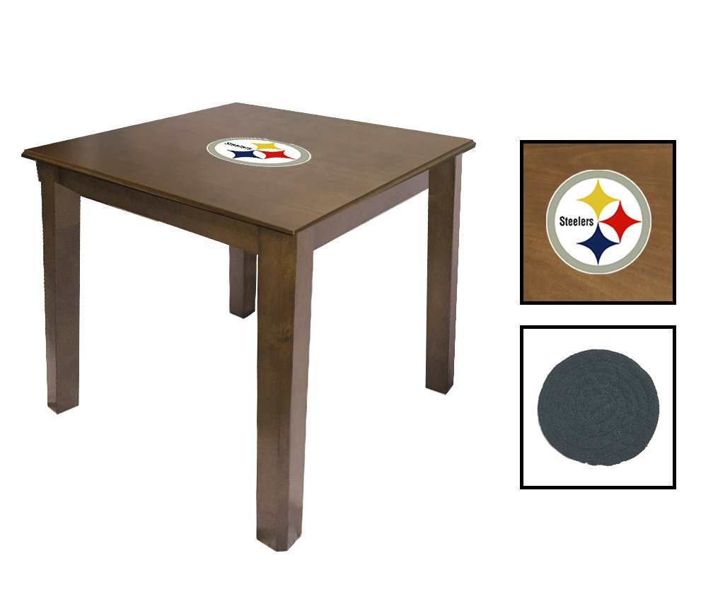 Walnut Finish End Table Featuring the Choice of Your Favorite Football Team Logo - FREE Coaster Included! (Steelers)