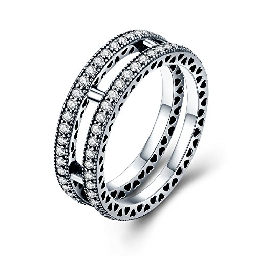 (The Kiss Double Hearts 925 Sterling Silver Stackable Ring, Clear CZ)