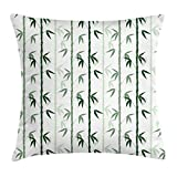 Lunarable Bamboo Throw Pillow Cushion Cover, Asian Forest Inspired Pattern Feng Shui Theme Zen Spa Nature Design, Decorative Square Accent Pillow Case, 18 X 18 Inches, Dark Green Pale Green White