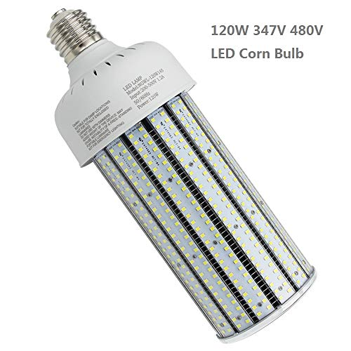 480V LED Corn Cob Bulb 120W,Daylight 6000K E39 Mogul Base Corn LED Bulbs 347V Replace 400Watt Metal Halide Shoebox Parking Lot Retrofit AC277-500V Input (120) ()