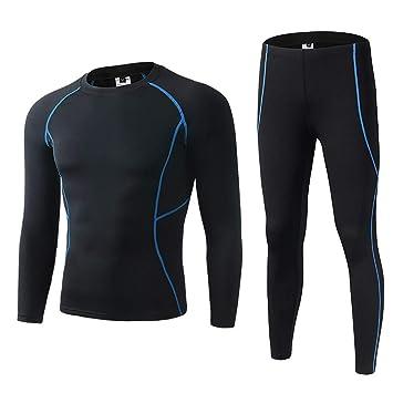 SKYSPER Camiseta Térmica Técnica de Compresión para Hombres Manga Larga Pantalones Largos Ropa Interior Termal Traje