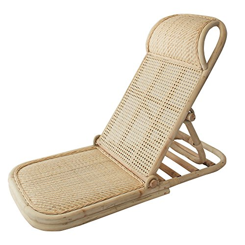 Folding Beach Chair, Portable Wicker Beach, Lawn, Floor Chair - Stylish Rattan Recliner Lounge Chairs For Outdoors, Beach Pool Sunbathing, Picnic, Camping - Foldable Wood Lounger Seat, Carry Strap -