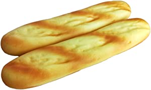 Lorigun 2PCS Artificial Fake Bread Pu Material Baguettes Realistic Faux Food, Imitation French Bread Fake Food for Decoration, Bread Model Kitchen Décor Food Toys Photography Prop
