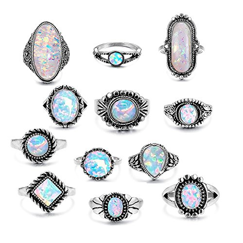 LOLIAS 12 Pcs Knuckle Rings for Women Bohemian Midi Ring Set Stackable]()