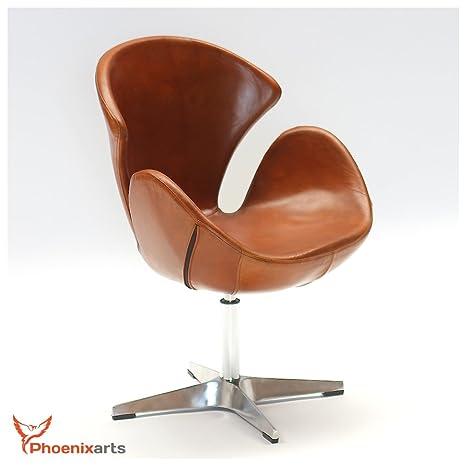 Poltrona Girevole Pelle.Phoenix 535 Poltrona Girevole In Vera Pelle Stile Vintage Modello Egg Chair