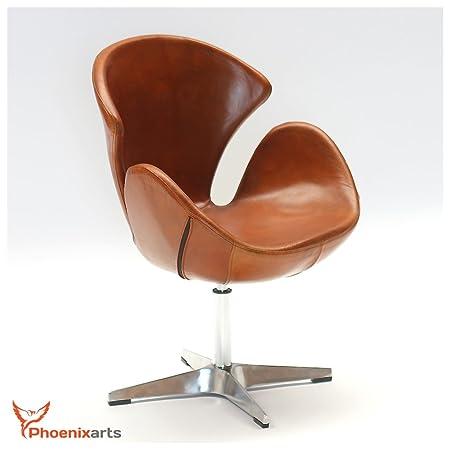 535 Egg Chair Genuine Leather Swivel Armchair, Vintage Design Lounge