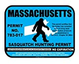 Massachusetts Sasquatch Hunting Permit License Bigfoot Vinyl Sticker Decal