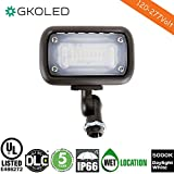 GKOLED 15W Outdoor LED Flood Security Lights, Waterproof Landscape Lighting, 50W PSMH Equivalent, 1500 Lumens, 5000K Daylight, UL-Listed & DLC4.2 Qualified, 5 Years Warranty