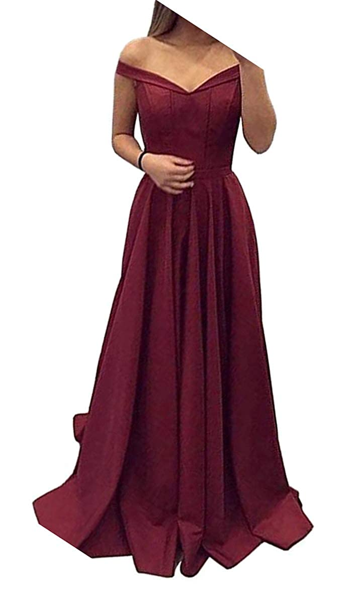 Burgundy Dressylady Off The Shoulder A Line Long Prom Homecoming Dress Evening Gowns