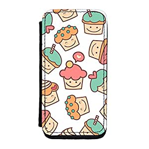 Cute Cupcakes on White Premium Faux PU Leather Case, Protective Hard Cover Flip Case for iPhone 5C by UltraCases