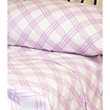 ON 3 Piece Purple White Plaid Pattern Sheets Twin Set, Elegant Windowpane Checkered Design Bedding, Bright Colors, Features Fully Elasticized Fitted, Deep Pocket, Machine Wash, Soft & Comfy, Cotton