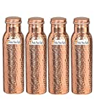 900ml / 30oz – Set of 4 - Prisha India Craft Pure Copper Water Bottle Ayurveda Health Benefits - Best Quality Water Bottles Joint Free, Handmade Christmas Gift