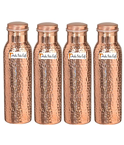 900ml / 30oz – Set of 4 - Prisha India Craft Pure Copper Water Bottle Ayurveda Health Benefits - Best Quality Water Bottles Joint Free, Handmade Christmas Gift by Prisha India Craft
