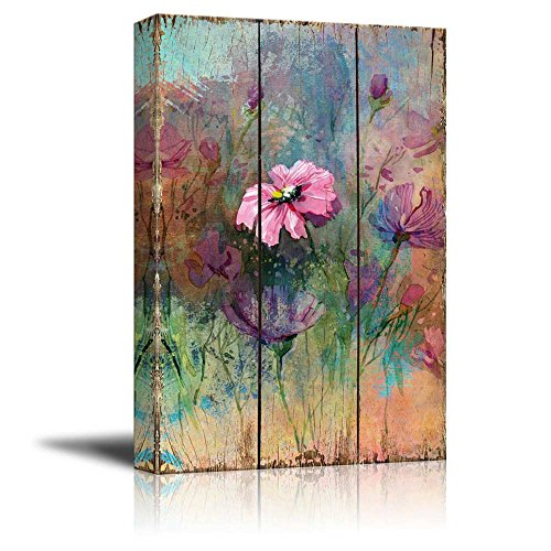 Vintage Pink Watercolor Flowers on Wooden Panels Nature
