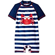 Wippette Baby Boys Stripes Crab One Piece Rash Guard Swimsuit with Snaps, Navy, 0-6 Months