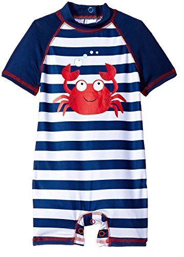 Boy Bathing Swimsuit - Wippette Baby Boys Stripes Crab One Piece Rash Guard Swimsuit with Snaps, Navy, 12 Months