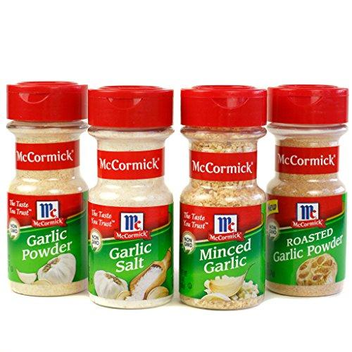 McCormick Garlic, Cooking Variety Pack (Garlic Powder, Minced Garlic, Roasted Garlic Powder, Garlic Salt), 4 Count