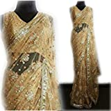 Generic Women's Net Saree With Blouse Piece(New_122 Beige Free Size)
