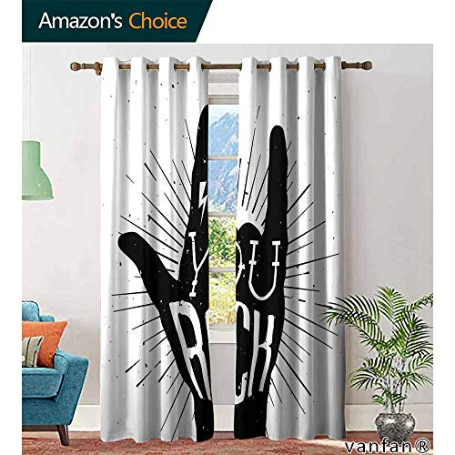 Big datastore Rock Music Light Blocking curtainsYou Rock Quote with Devil Symbol and Abstract Lines Monochrome Tattoo Pattern for Kitchen Bedroom Living Room W84 x L96 Black White