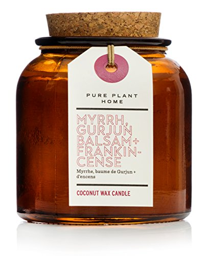 Pure Plant Home Myrrh Gurjun Balsam Frankincense 6 oz Vintage Amber Apothecary Jar Candle