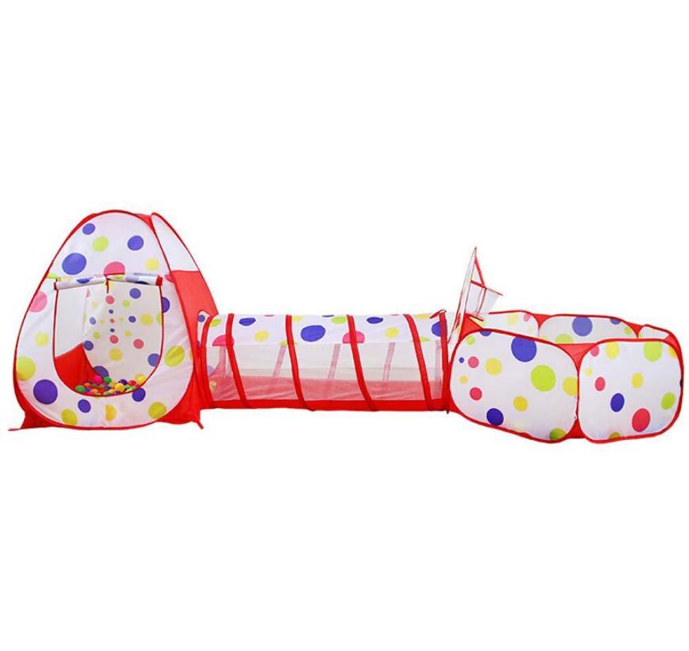 Faltendes Spielzeugzelt Kinder Spiel Zelt Tunnel Indoor Spielhaus Tragbare Falten Dot dreiteilige Tuch Zelt Outdoor Castle Geschenk bevorzugt