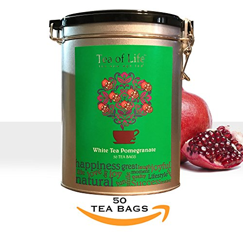 Ceylon White Tea - TEA OF LIFE 50 Pure Ceylon White Tea Pomegranate Bags/Oval Metal Clip Tin Gift Ready (White Tea Pomegranate)