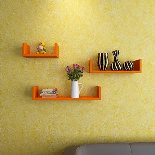 BM WOOD FURNITURE U Shaped MDF Wall Shelves Floating Racks   Orange