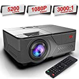 Pansonite Mini Portable Projector with 5200 Lux  and 30,000 Hour Lamp Life,Video Projector Full HD 1080P and Max.200'' Display Supported, Compatible with HDMI/VGA/AV/ USB for Home Theater