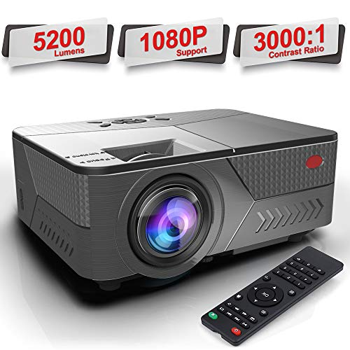 "Pansonite Portable Projector with 5200 Lux  and 30,000 Hour Lamp Life,Video Projector Full HD 1080P and Max.200"" Display Supported, Compatible with HDMI/VGA/AV/ USB for iPhone& Android"
