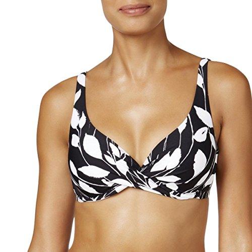 Anne Cole Women's Over The Shoulder Underwire Twist Sexy Bikini Swim Top, Black and White, M