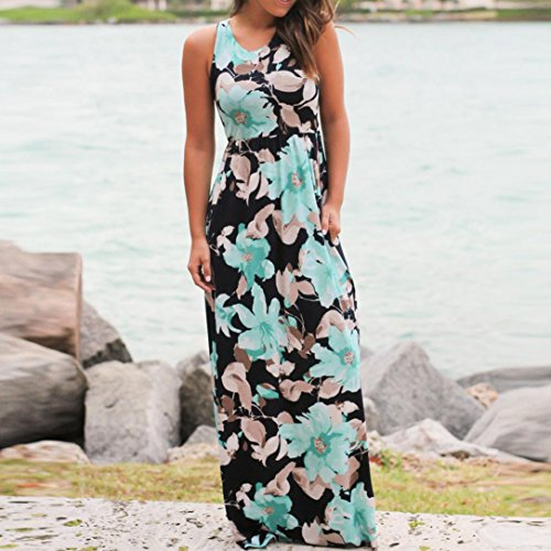 WM & MW Clearance Dresses,Women Summer Beach Dress Sleeveless Floral Pritned Sundress Loose Long Maxi Dress with Pockets (XX-Large, Blue) by WM & MW (Image #1)