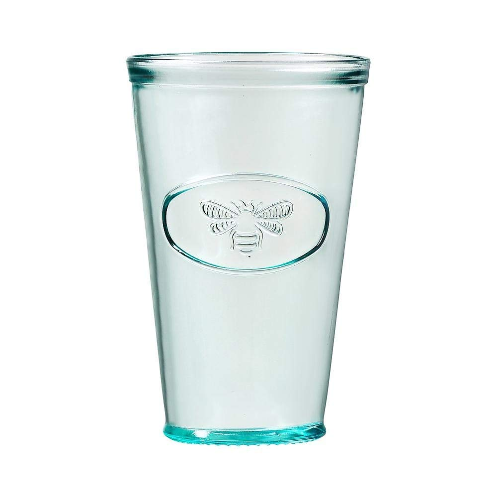 Amici Home A7AJ714S6R Bee Relief Hiball Drinking Glass, Recycled Green Glass Drinkware, Italian Made, 16 Fluid Ounce Capacity Each, Set of 6 by Amici Home