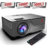 Pansonite Mini Portable Projector with 5200 Lux and 30,000 Hour Lamp Life,Video Projector Full HD 1080P and Max.200' Display Supported,Compatible with HDMI/VGA/AV/ USB for Home Theater
