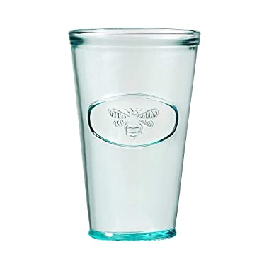 Amici Home A7AJ714S6R Bee Relief Hiball Drinking Glass, Recycled Green Glass Drinkware, Italian Made, 16 Fluid Ounce Capacity Each, Set of 6