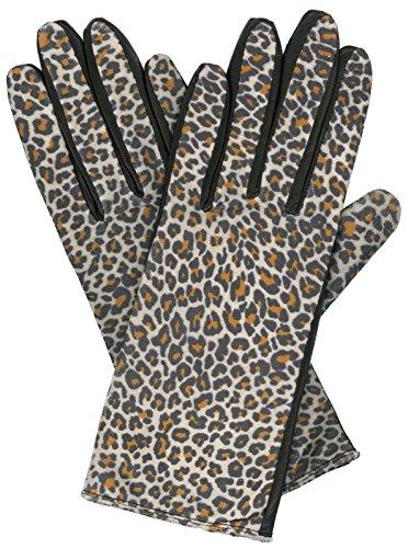 Grandoe Women's KITTY Leather Palm Glove, Leopard Print (Black, Large)