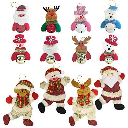 Tuzico 12Pcs Christmas Tree Bell Ornaments, Chrismas Bell Decorations, Christmas Hanging Ornaments, 8 Christmas Bell Ornaments & 4 Christmas Dance Ornaments, Snowman/Old Man/Bear/Reindeer