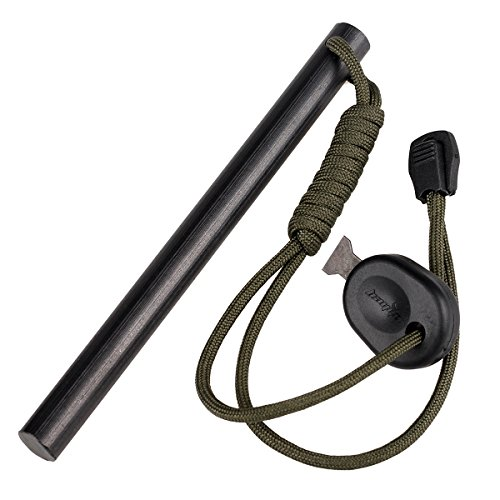 bayite-59-Inch-X-047-Inch-Drilled-Mischmetal-Rod-Flint-Fire-Starter-Soft-Version-with-Striker-Lanyard-150mmL-x-12mmDia