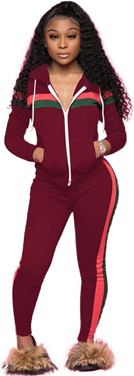 ZJFZML Women's Long Sleeve Zip Up Coat Pockets Sweatpants Sport Jogger Sweatsuit