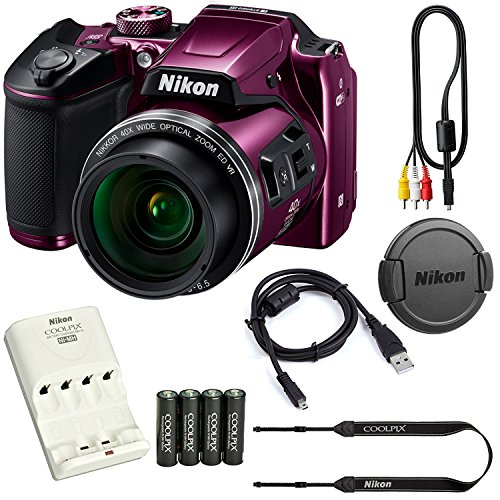 Nikon COOLPIX B500 16MP 40x Optical Zoom Digital Camera Bundle includes Camera, 4 AA Rechargeable Batteries + Charger MH-73, Cables and More (Purple) by Coolpix
