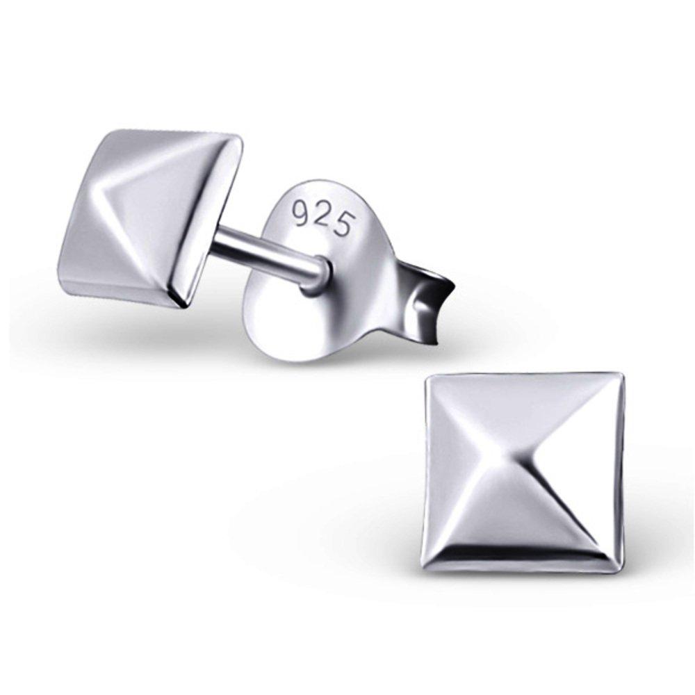 Plain Silver Four-Sided Pyramid Ear Studs