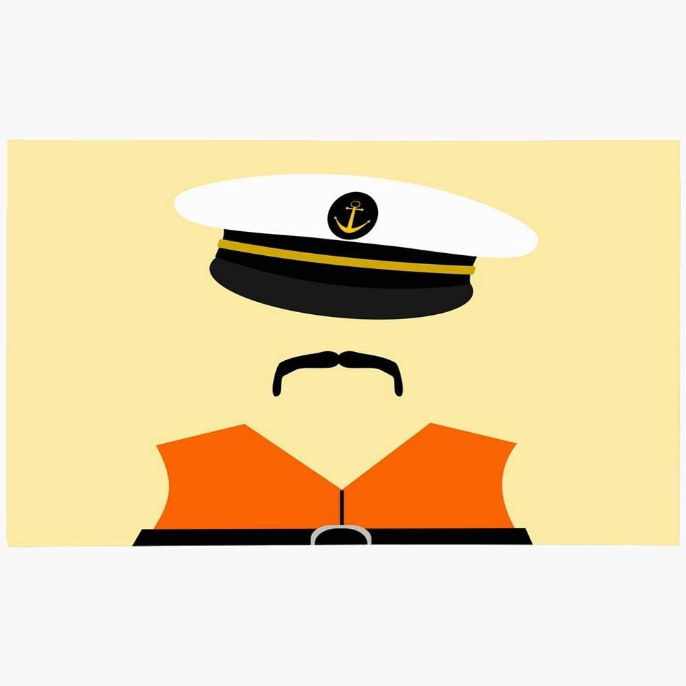 Onete Doormat Door Mat 16x24 Inches Hat Sailor Wearing Sail Life Design Jacket Men People Anchor Miscellaneous Graphic Moustache Boat Machine Washable Non Slip Mats Bathroom Kitchen Decor Area Rug