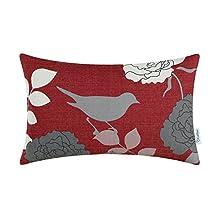 CaliTime Cushion Cover Throw Pillow Shell Floral Shadow Bird 12 X 20 Inches Burgundy Ground Grey Bird