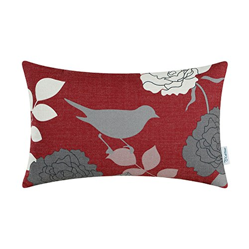 CaliTime Canvas Bolster Pillow Cover Case for Couch Sofa Home Decoration Floral Cartoon Shadow Bird Silhouette 12 X 20 Inches Burgundy Ground Grey -