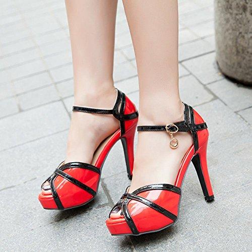 Carolbar Kvinna Peep Toe Mode Plattform Krängt Klänning Sandaler Rött