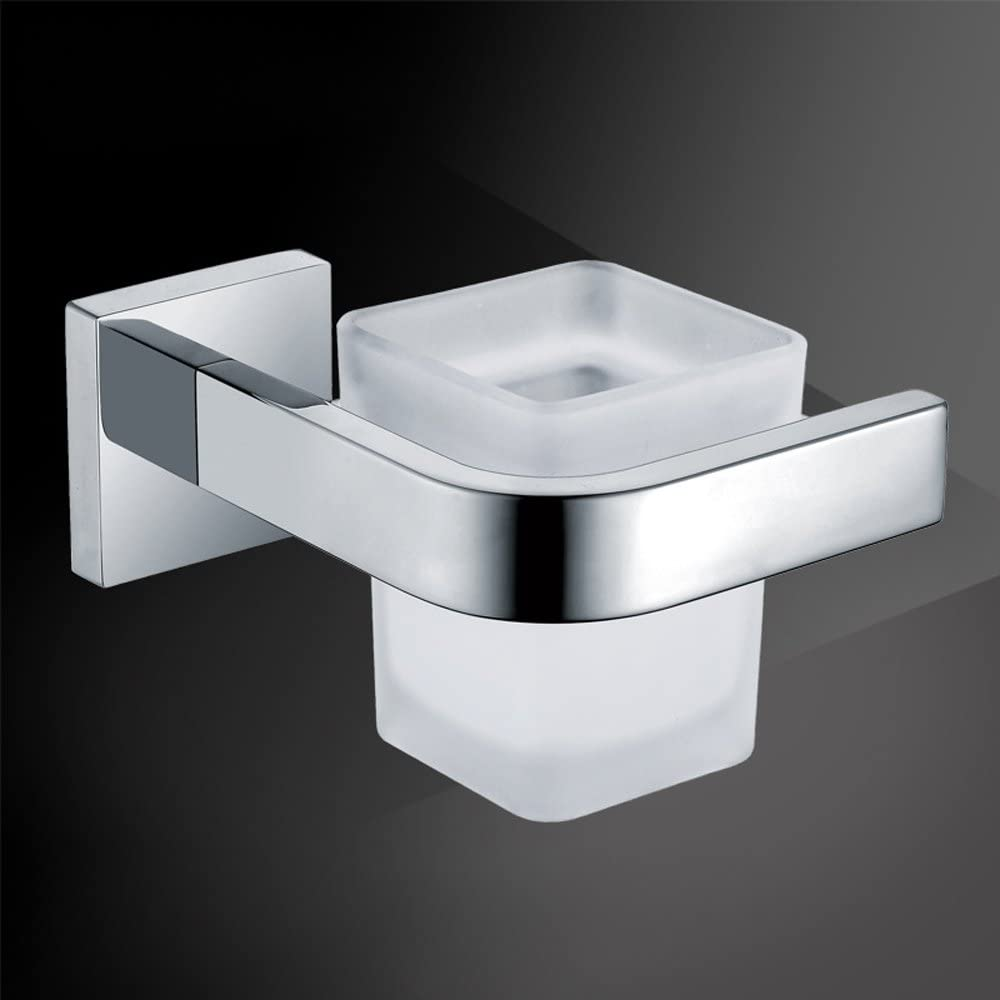 Weare Home Wandmontag silbern Einfach modern Design Badezimmer Zubeh/ör einzeln Zahnb/ürstenhalter aus Edelstahl Chrom Finished mit Zahnb/ürstenbecher aus Glas Bohren
