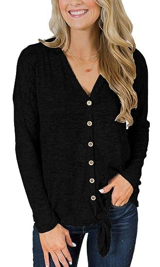 bd1d9a6258 Jescakoo Womens Tops Slim Fitting Basic Shirts Tie Knot V Neck Blouse Black  S