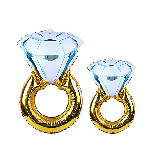 HAIOPS Giant Diamond Ring Balloon 43 Inch and 33 Inch Diamond Ring Foil Helium Balloons for Kids Party and Bridal Shower Party Wedding Decoration
