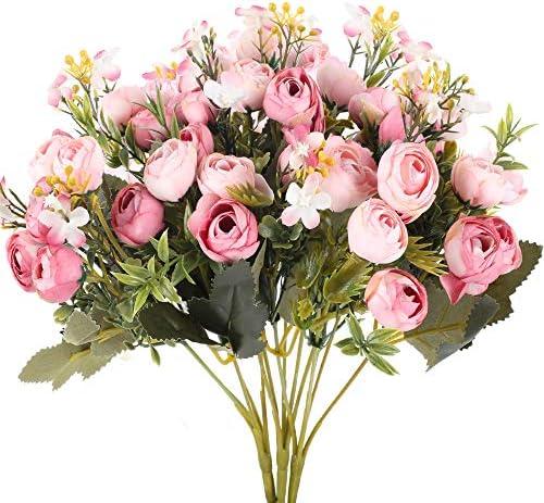 XHXSTORE 3Pcs Fiori di Seta Artificiale per Interni Fiori di Rosa Finti Bouquet da Sposa da sposa in Seta Fiori rosa finti Piante per camino Casa Giardino Party Hotel Ufficio Tavolo Vaso Decor