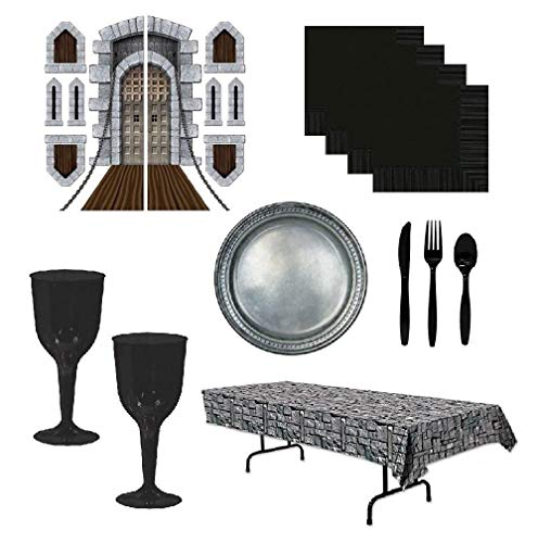 Medieval Party Decorations Tableware Harry Potter Goblets Stonewall Table Cover Pewter Plates 16 Guests -